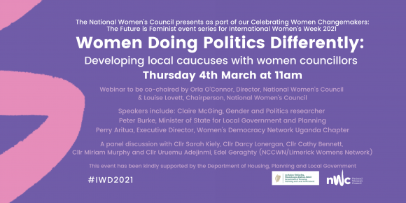 "Launch of ""Women doing politics differently"" - developing local caucus with women councillors."