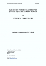 NWCI submission to the Department of Justice Equality and Law Reform on Domestic Partnership